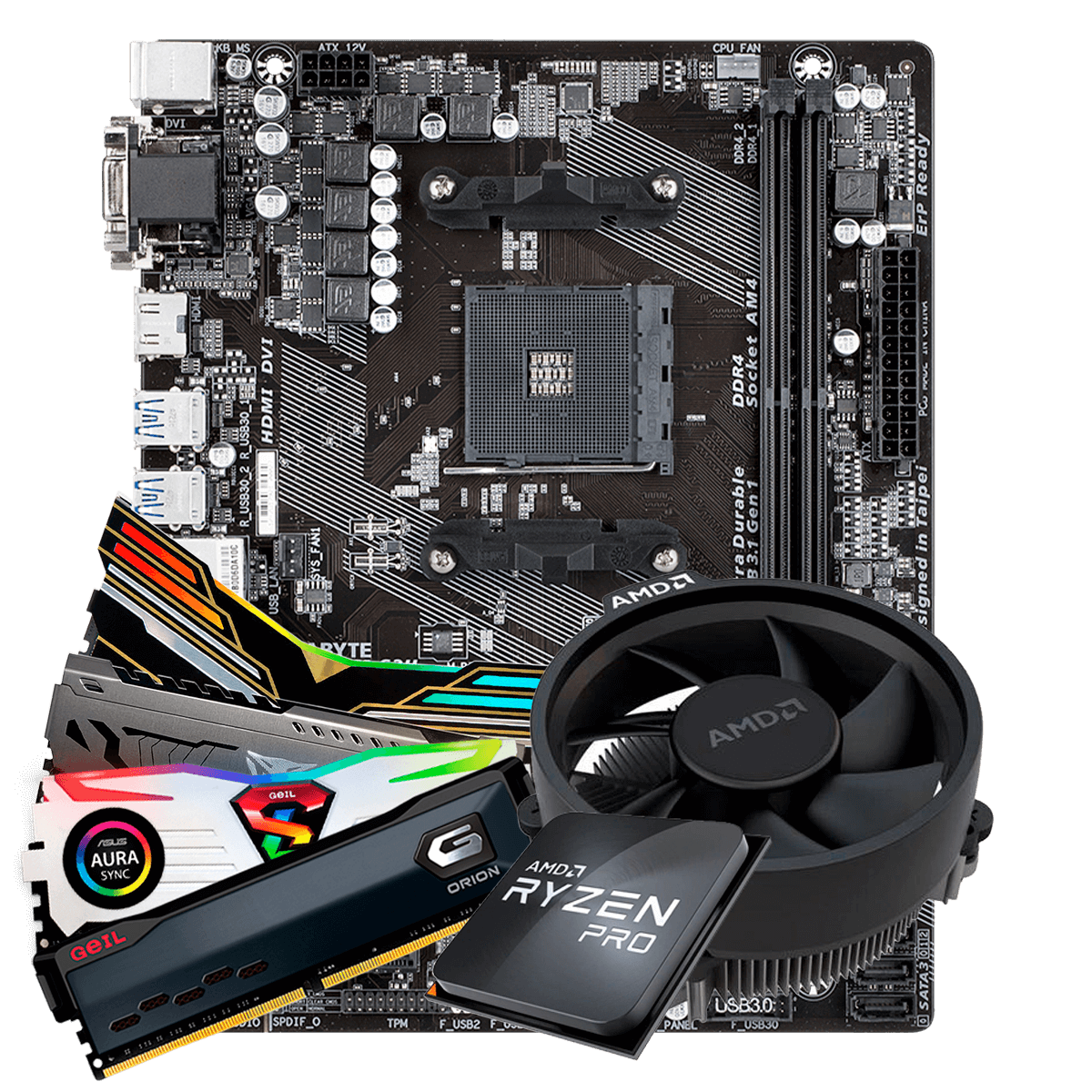 Kit Upgrade, AMD Ryzen 3 2200G, Gigabyte GA-A320M-S2H, Memória DDR4 8GB 3000MHz