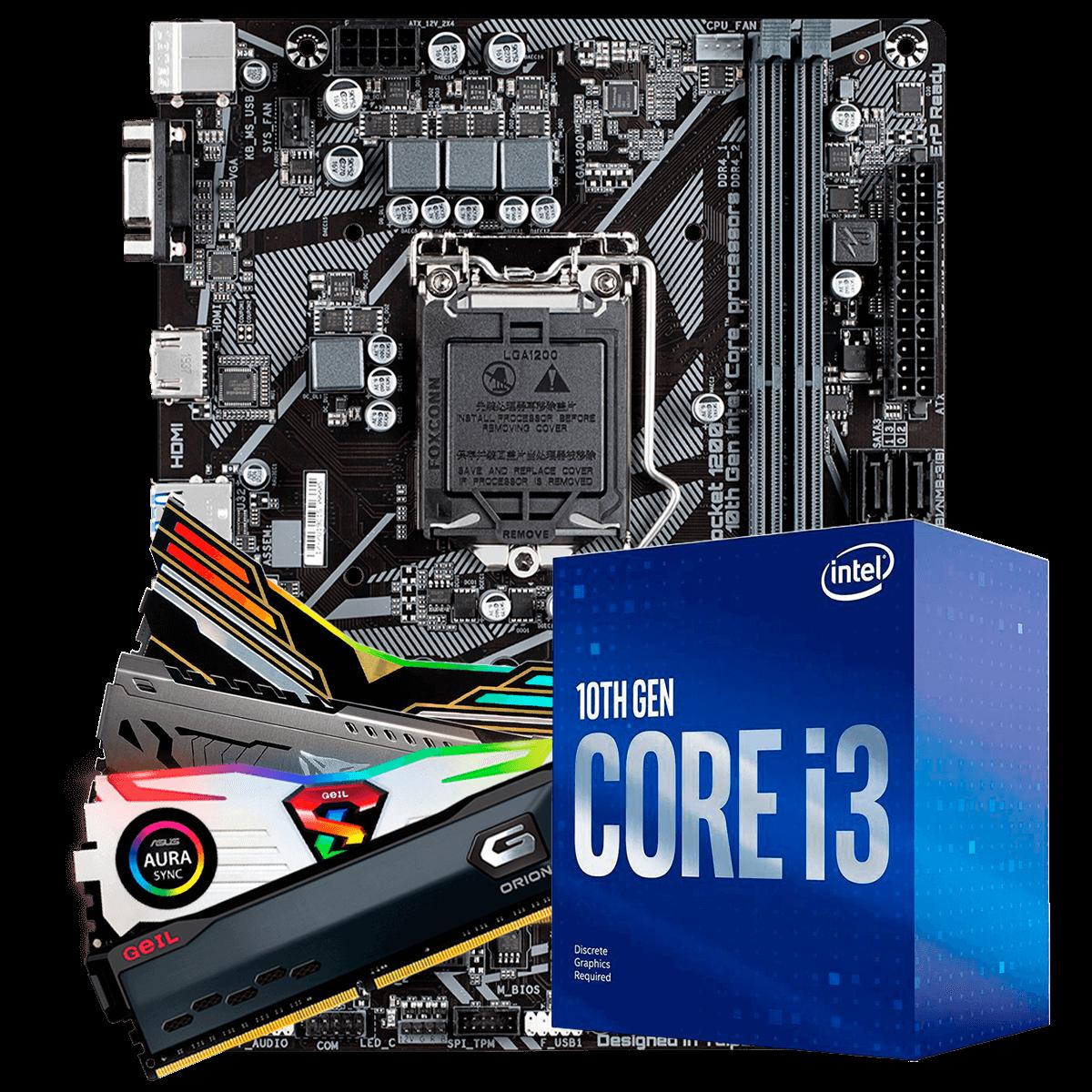 Kit Upgrade, Intel Core i3 10100, Gigabyte H410M-H, Memória 8GB DDR4 3000Mhz
