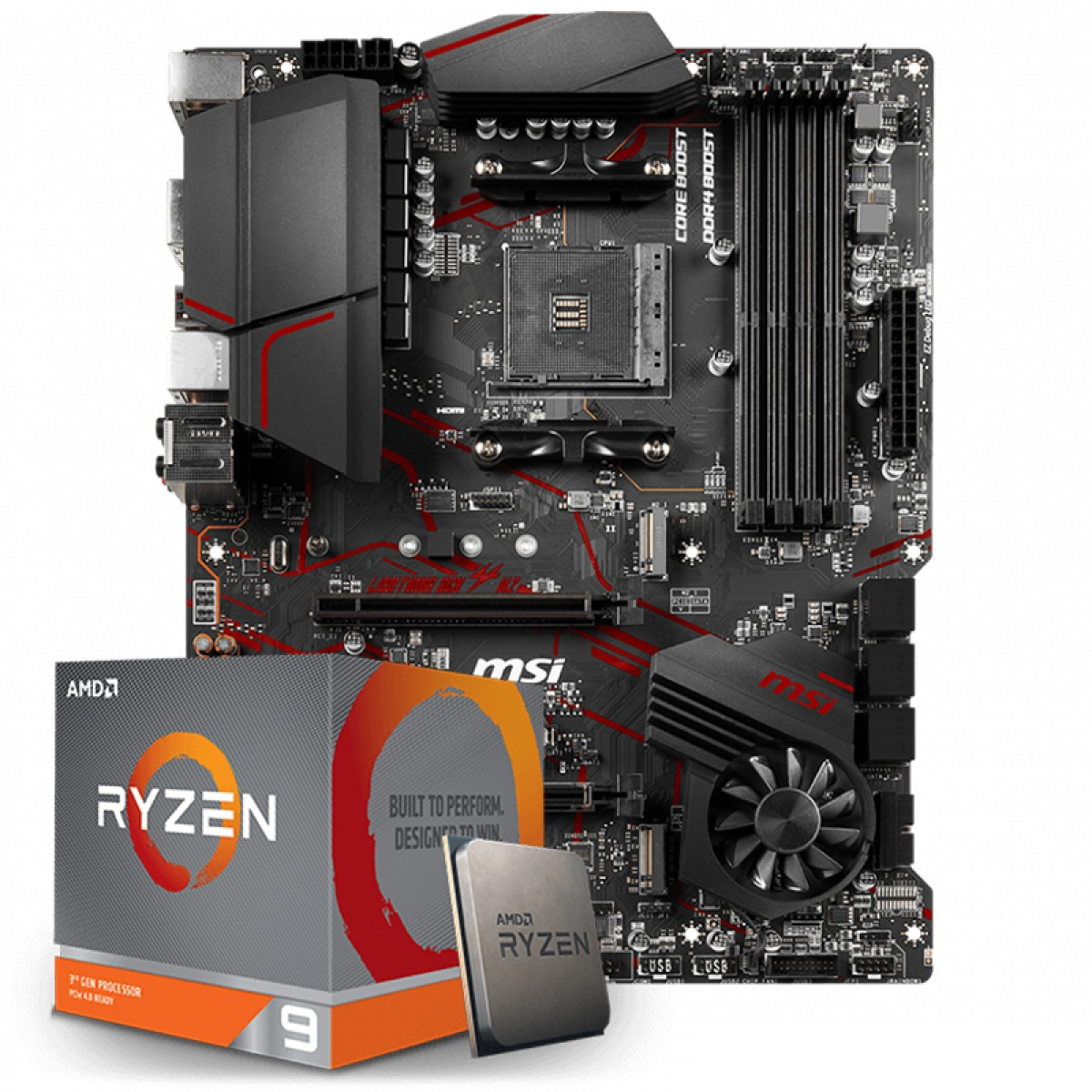 Kit Upgrade Placa Mãe MSI MPG X570 Gaming Plus, AMD AM4 +  Processador AMD Ryzen 9 3900x 3.8GHz