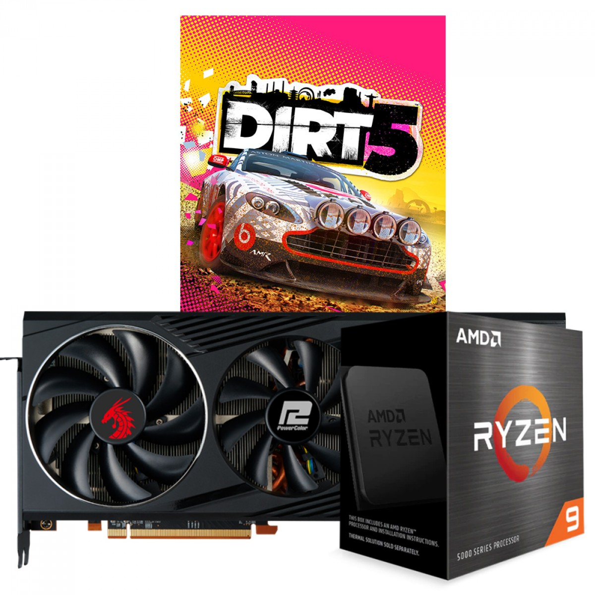 Kit Upgrade PowerColor Radeon RX 6800 Red Dragon + AMD Ryzen 9 5950X + Brinde Jogo Dirt 5