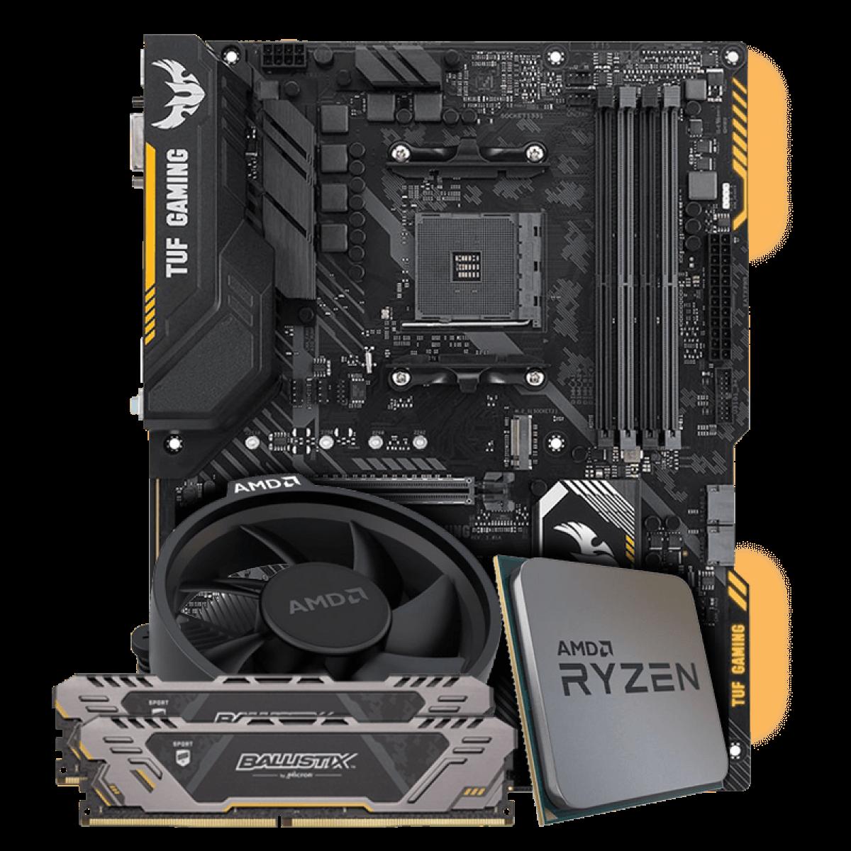 Kit Upgrade Placa Mãe Asus TUF X470-Plus Gaming DDR4 + Processador AMD Ryzen 5 2600X 3.6GHz + Memória DDR4 Crucial Ballistix Sport TUF Edition 16GB (2X8GB) 3000MHz