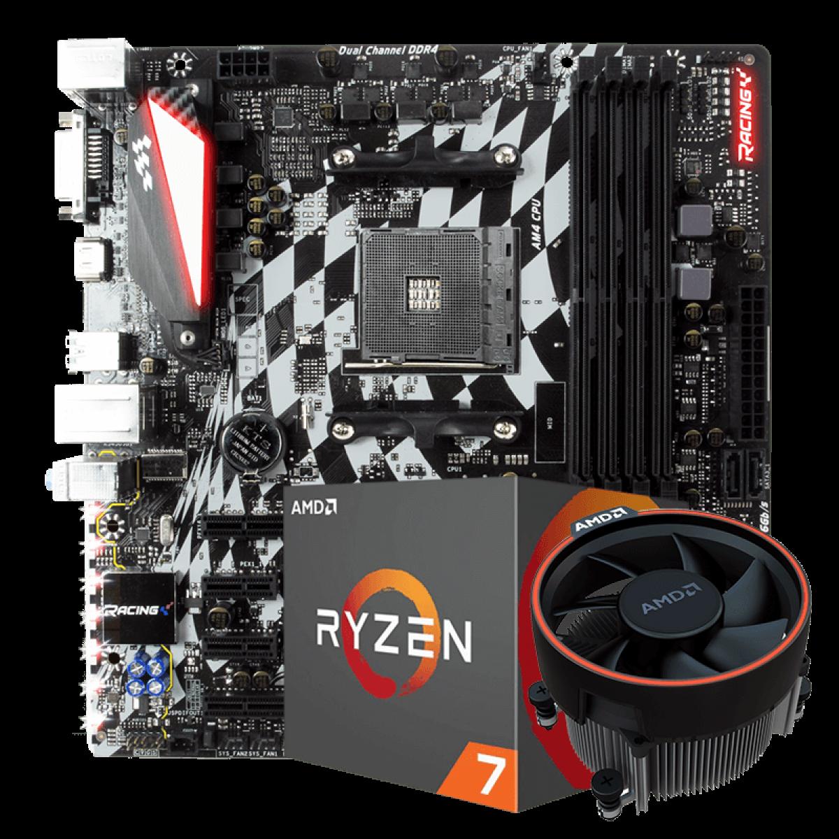 Kit Upgrade Placa Mãe Biostar Racing B350GT3 DDR4 AMD AM4 + Processador AMD Ryzen 7 2700 3.2GHz