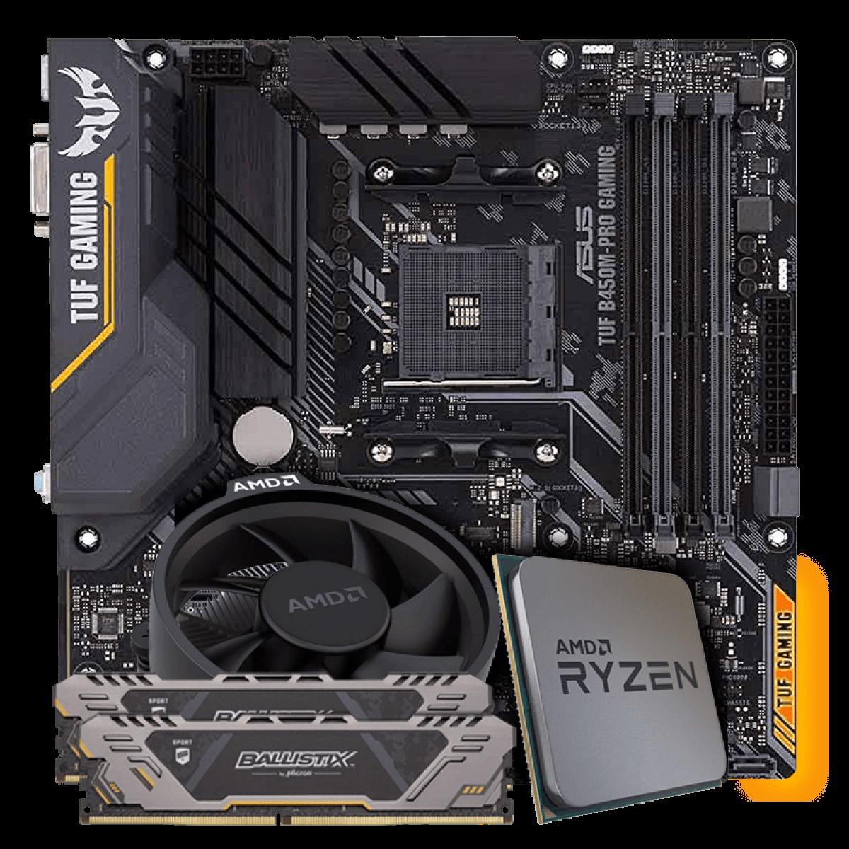 Kit Upgrade Placa Mãe Asus TUF B450M-PRO GAMING DDR4 + Processador AMD Ryzen 5 2600X 3.6GHz + Memória DDR4 Crucial Ballistix Sport TUF Edition 16GB (2X8GB) 2666MHz