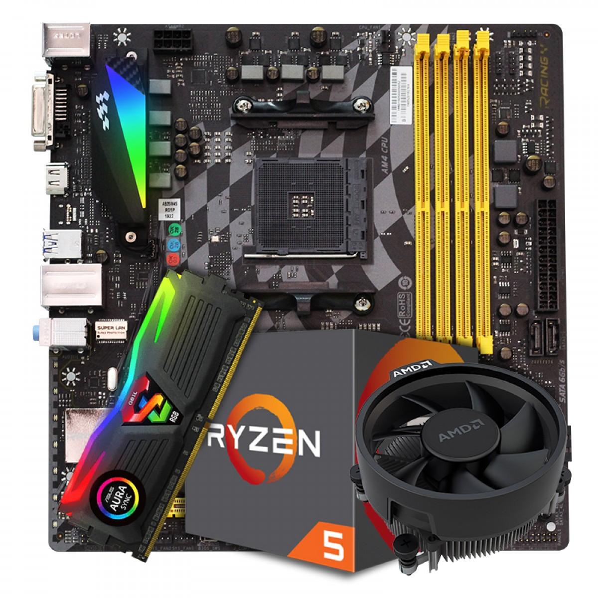 Kit Upgrade Placa Mãe BIOSTAR B350GTX DDR4 + Processador AMD Ryzen 5 2600 3.6GHz + Memória DDR4 8GB 3000MHZ