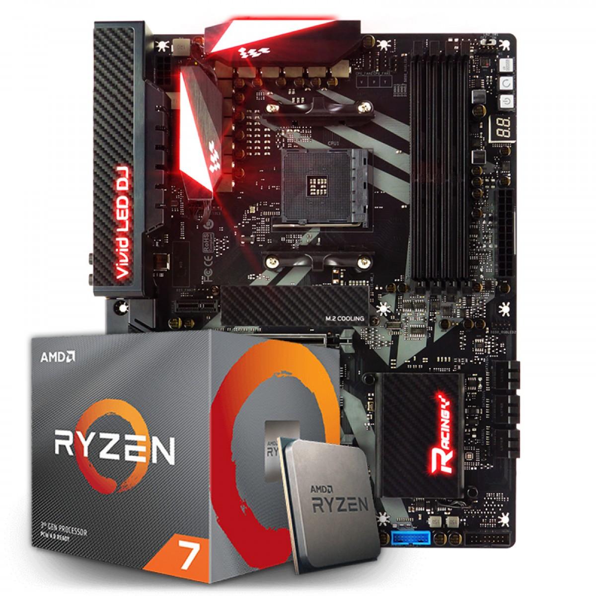 Kit Upgrade Placa Mãe Biostar Racing X470GT8, AMD AM4 + Processador AMD Ryzen 7 3700x 3.6GHz