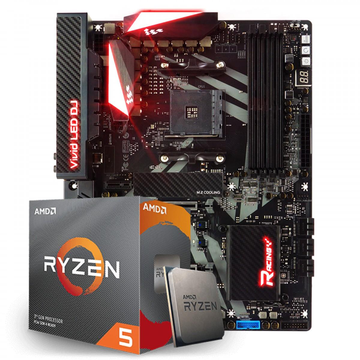 Kit Upgrade Placa Mãe Biostar Racing X470GT8, AMD AM4 + Processador AMD Ryzen 5 3600x 3.8ghz