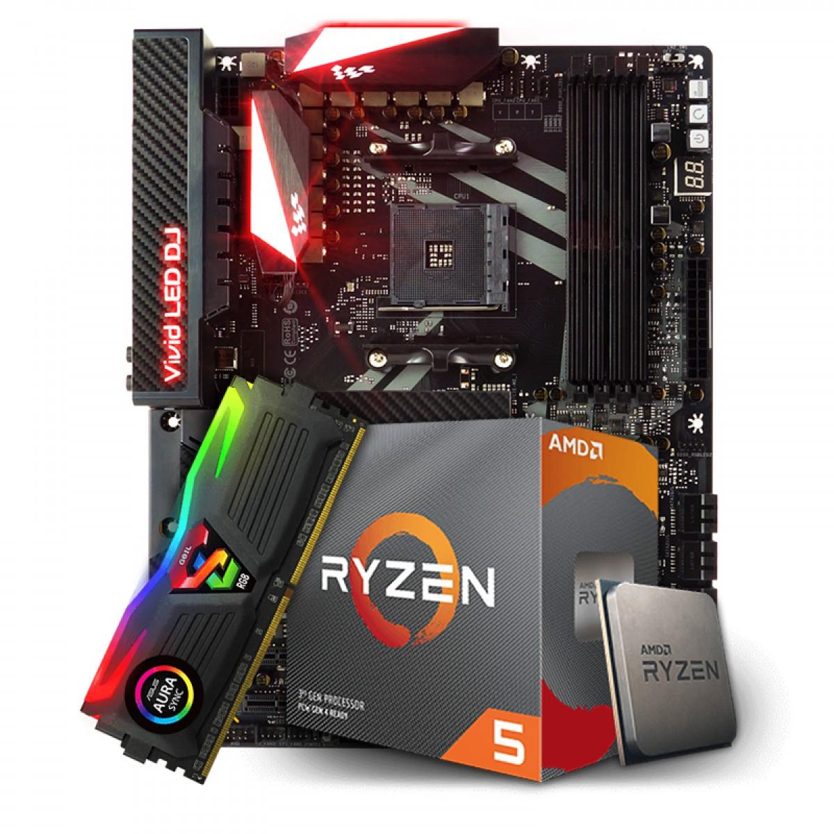 Kit Upgrade Placa Mãe Biostar Racing X470GT8 AMD AM4 + Processador AMD Ryzen 5 3600x 3.8ghz + Memória DDR4 8GB 3200MHz