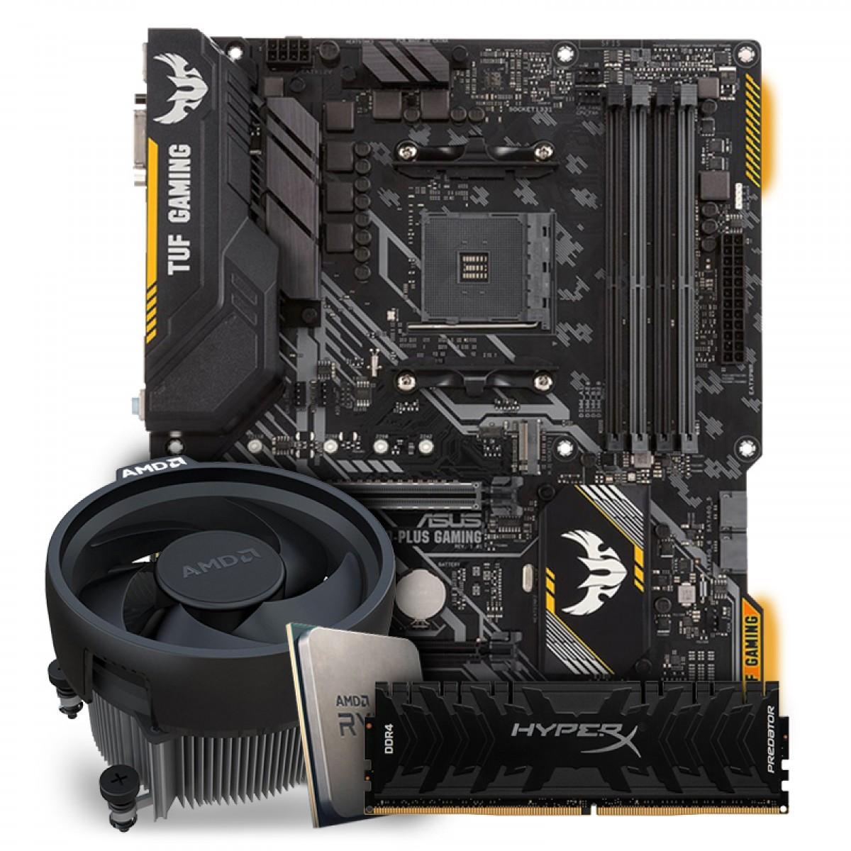 Kit Upgrade Placa Mãe Asus TUF B450-Plus Gaming, AMD AM4 + Processador AMD Ryzen 5 3600 3.6GHz + Memória DDR4 Kingston Hyperx Predator 8GB 3000MHZ