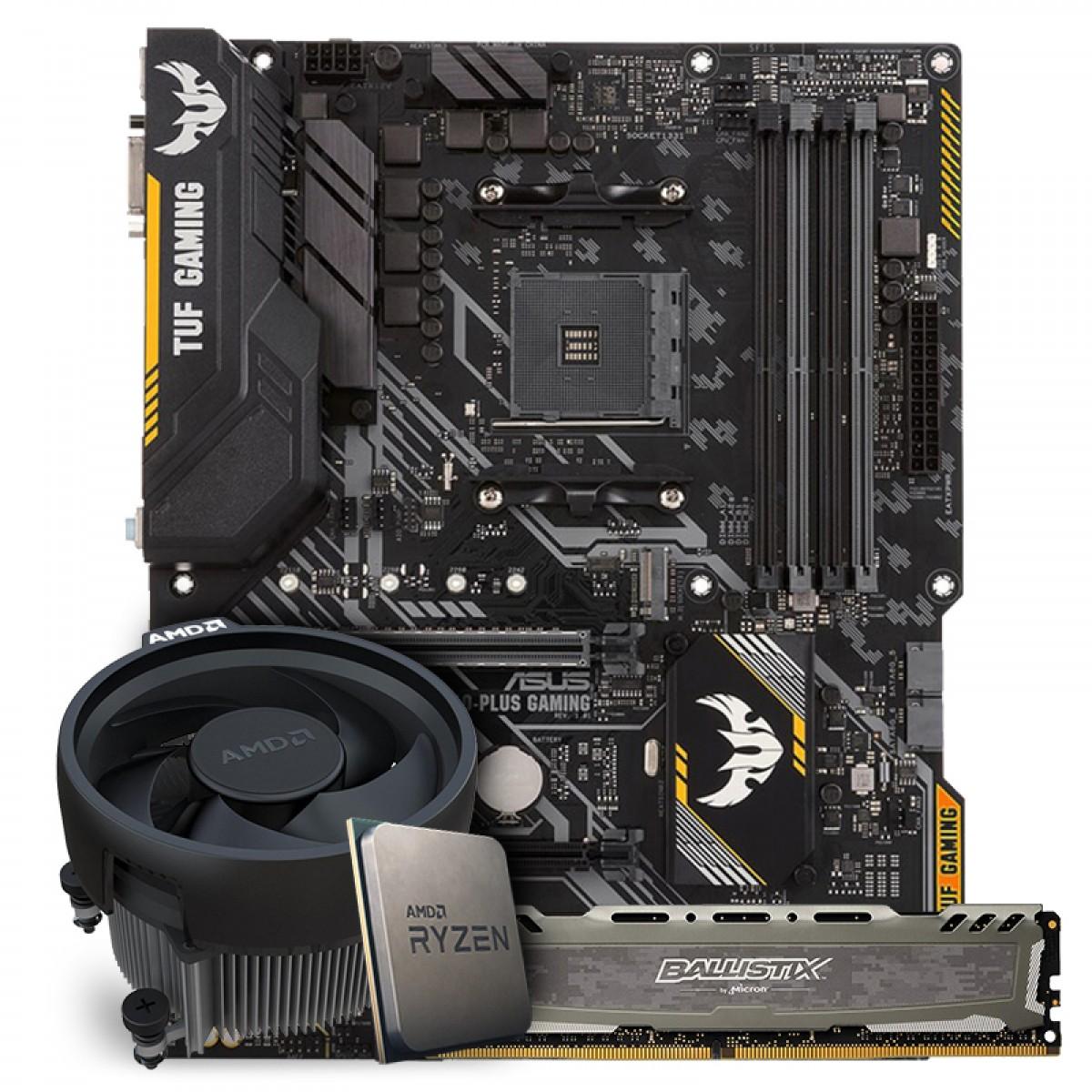Kit Upgrade Placa Mãe Asus TUF B450-PLUS GAMING, AMD AM4 + Processador AMD Ryzen 5 3600 3.6GHz + Memória DDR4 16GB 2666MHz