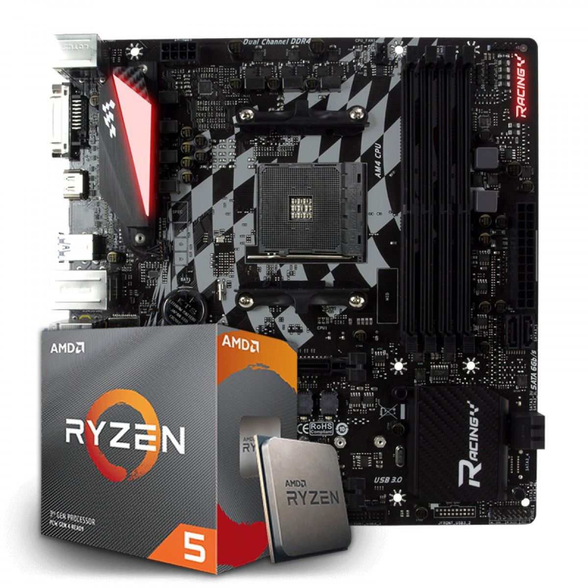 Kit Upgrade Placa Mãe Biostar Racing B350GT3, AMD AM4 + Processador AMD Ryzen 5 3600x 3.8ghz
