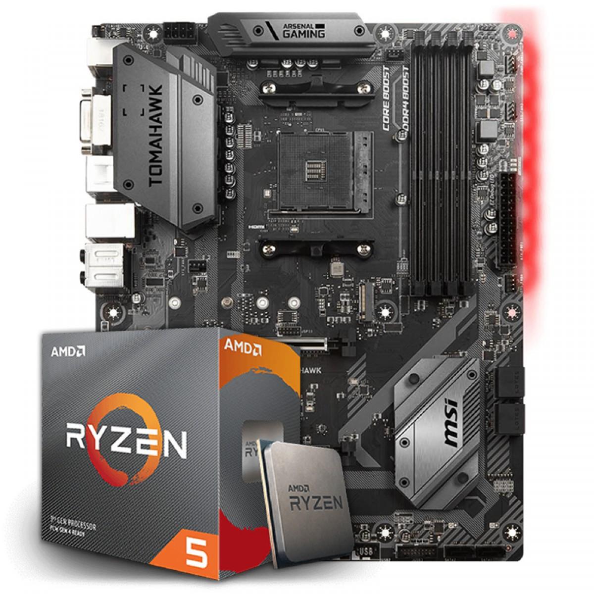 Kit Upgrade Placa Mãe MSI B450 Tomahawk AMD AM4 + Processador AMD Ryzen 5 3600 3.6GHz