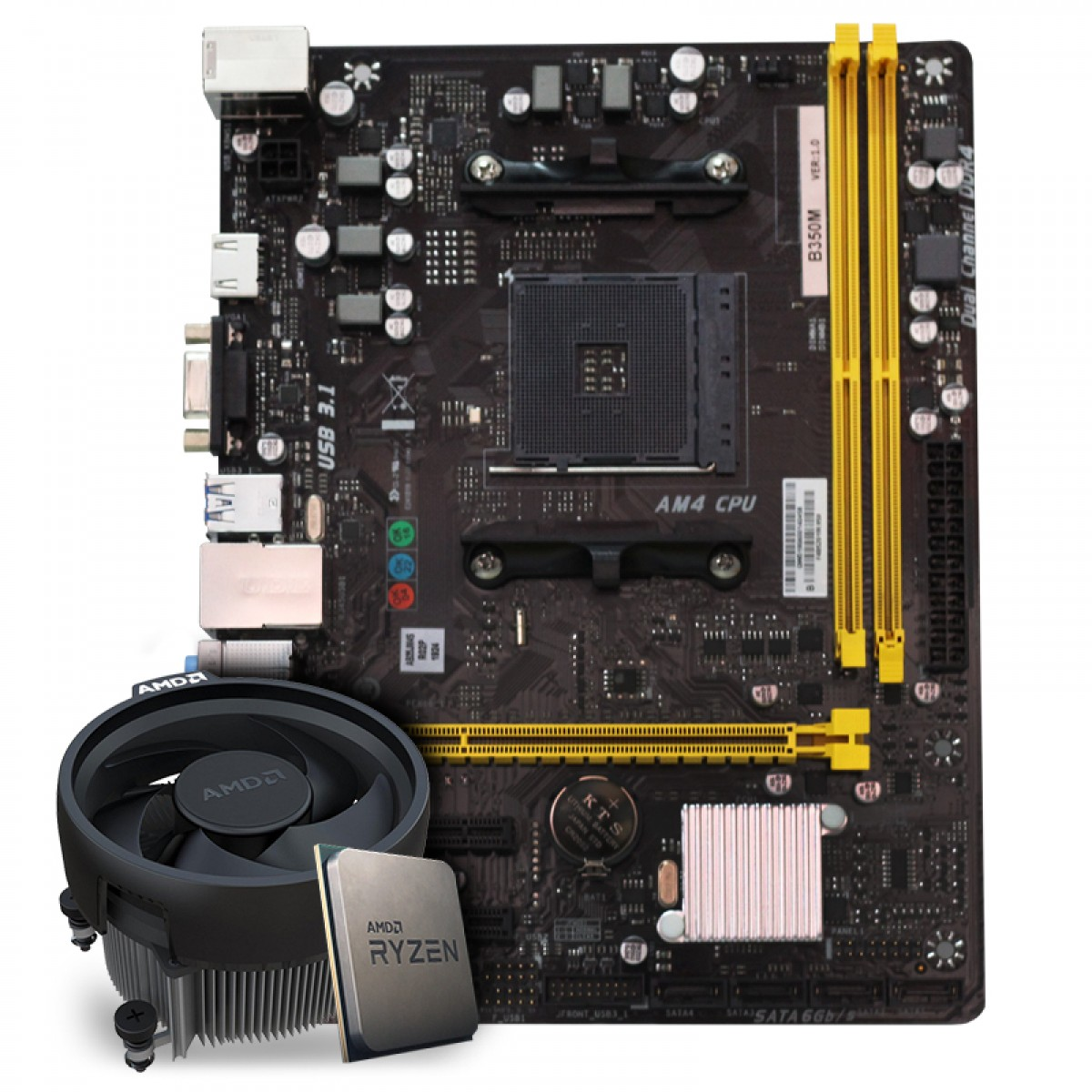 Kit Upgrade Placa Mãe Biostar Biostar B350M AMD AM4 + Processador AMD Ryzen 5 3600 3.6GHz