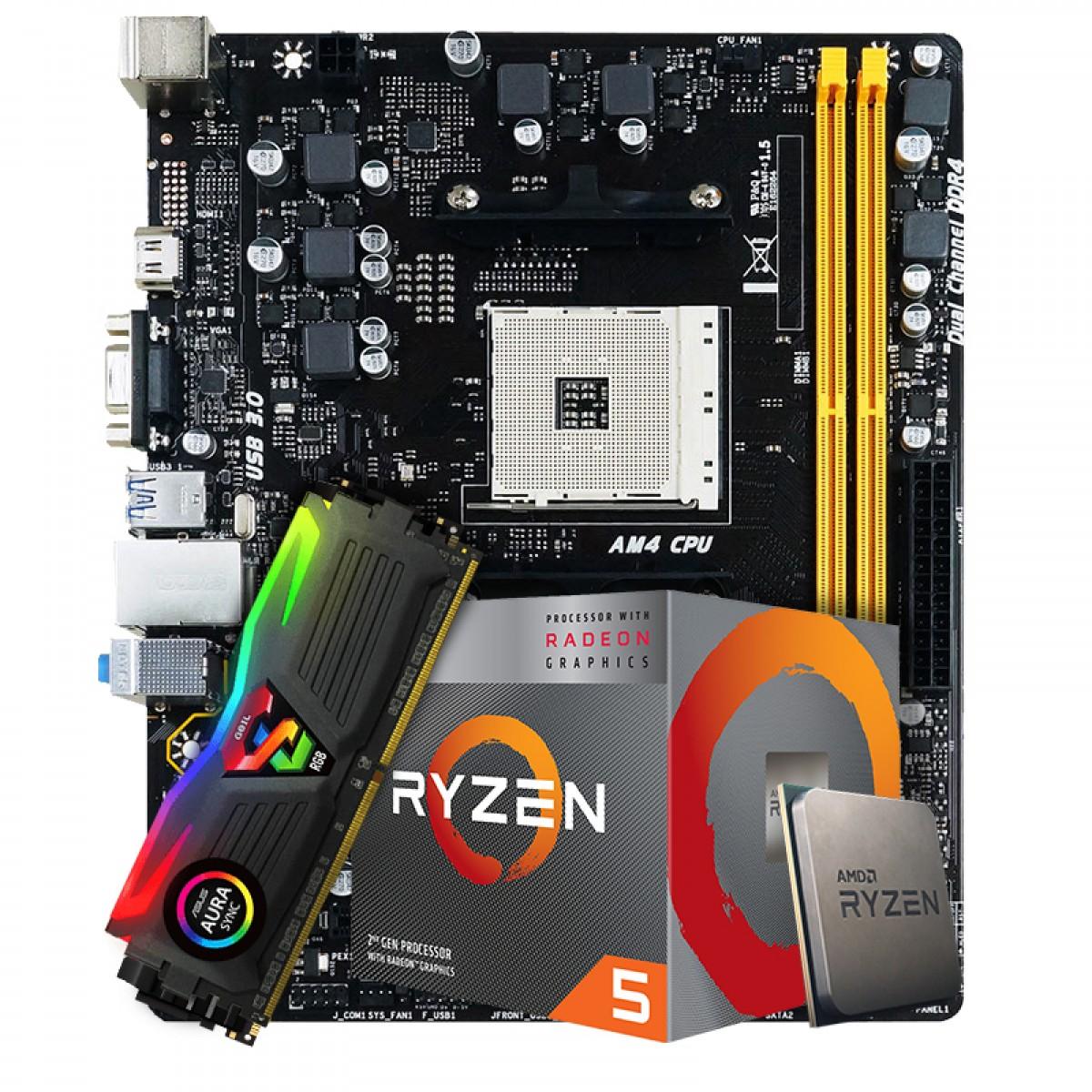 Kit Upgrade Placa Mãe Biostar Racing B350M DDR4 AMD AM4 + Processador AMD Ryzen 5 3400G 3.7GHz + Memória DDR4 8GB 3000MHz