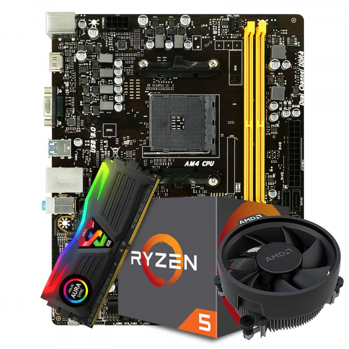 Kit Upgrade Placa Mãe Biostar B450MH AMD AM4 DDR4 + Processador AMD Ryzen 5 2600 3.6GHz + Memória DDR4 8GB 3000MHZ