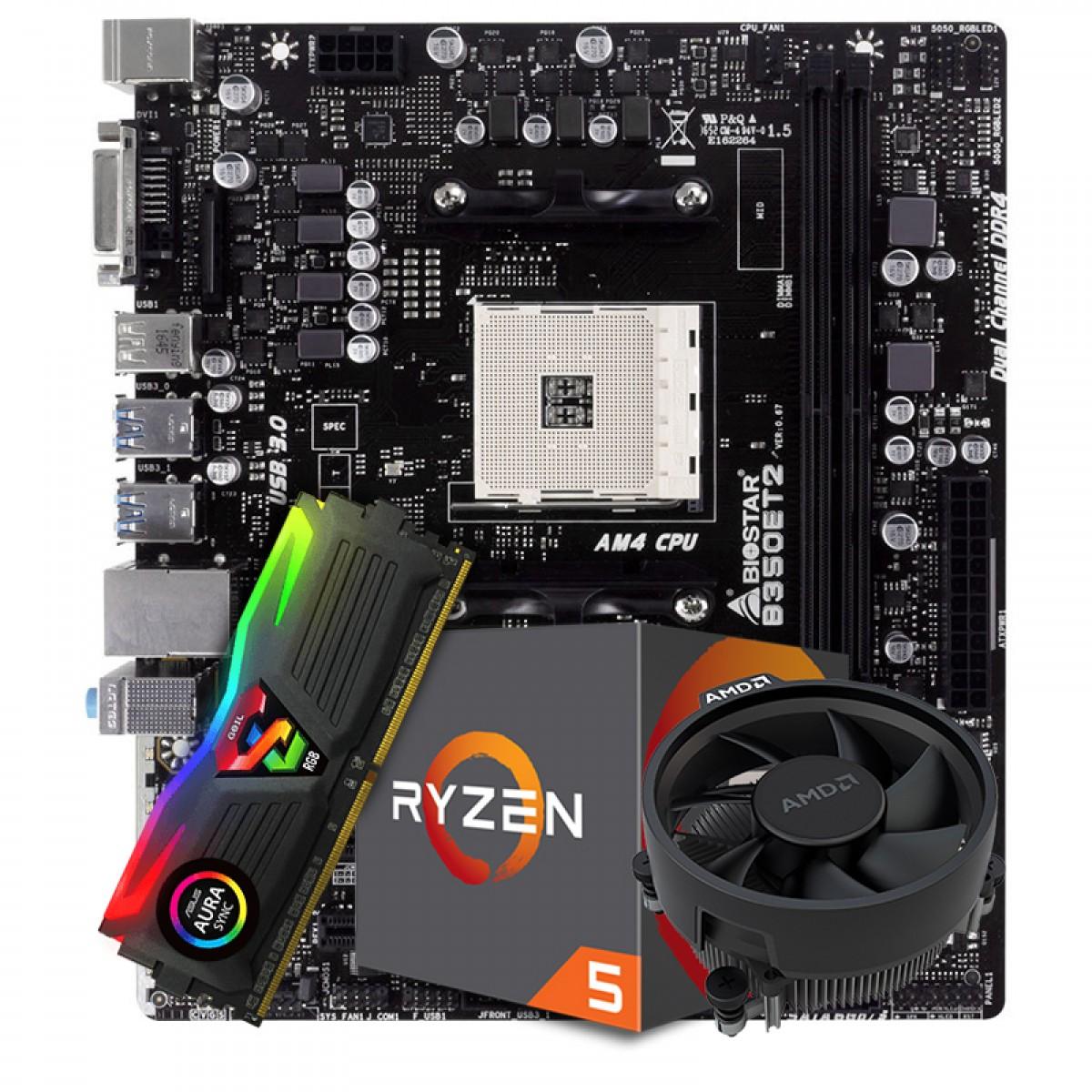 Kit Upgrade Placa Mãe Biostar Racing B350ET2 AMD AM4 DDR4 + Processador AMD Ryzen 5 2600 3.6GHz + Memória DDR4 8GB 3000MHZ