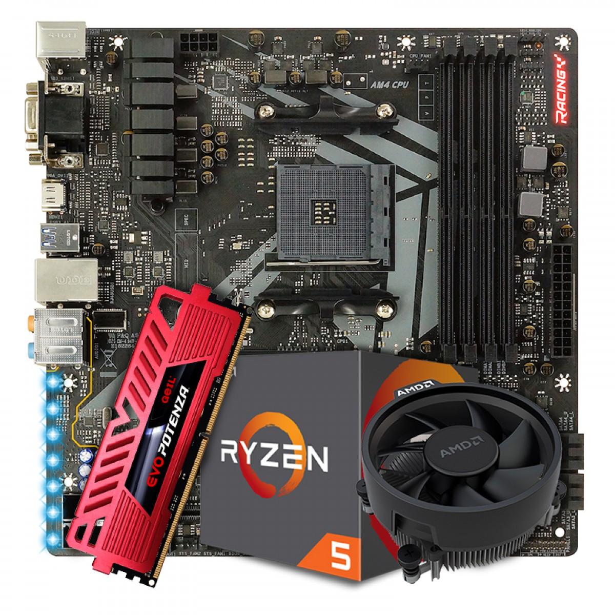 Kit Upgrade Placa Mãe Biostar Racing B450GT3 AMD AM4 DDR4 + Processador AMD Ryzen 5 2600 3.6GHz + Memória DDR4 8GB 3200MHZ