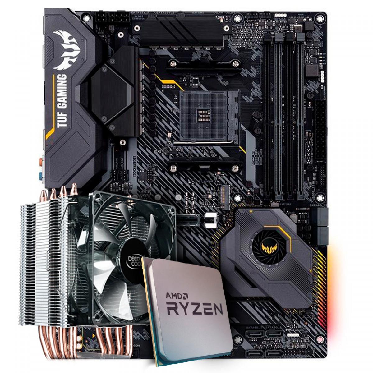 Kit Upgrade Placa Mãe Asus TUF Gaming X570-Plus AMD AM4 + Processador AMD Ryzen 7 3800x 3.9GHz+ Cooler Deepcool Gammaxx