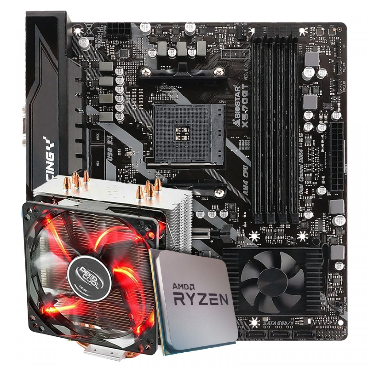 Kit Upgrade Placa Mãe Biostar Racing X570GT + Processador AMD Ryzen 7 3800x 3.9GHz + Cooler DeepCool Gammaxx 400
