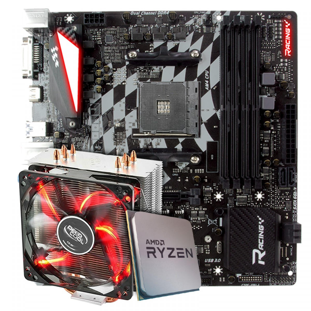 Kit Upgrade Placa Mãe Biostar Racing X470GTQ + Processador AMD Ryzen 7 3800x 3.9GHz + Cooler DeepCool Gammaxx 400
