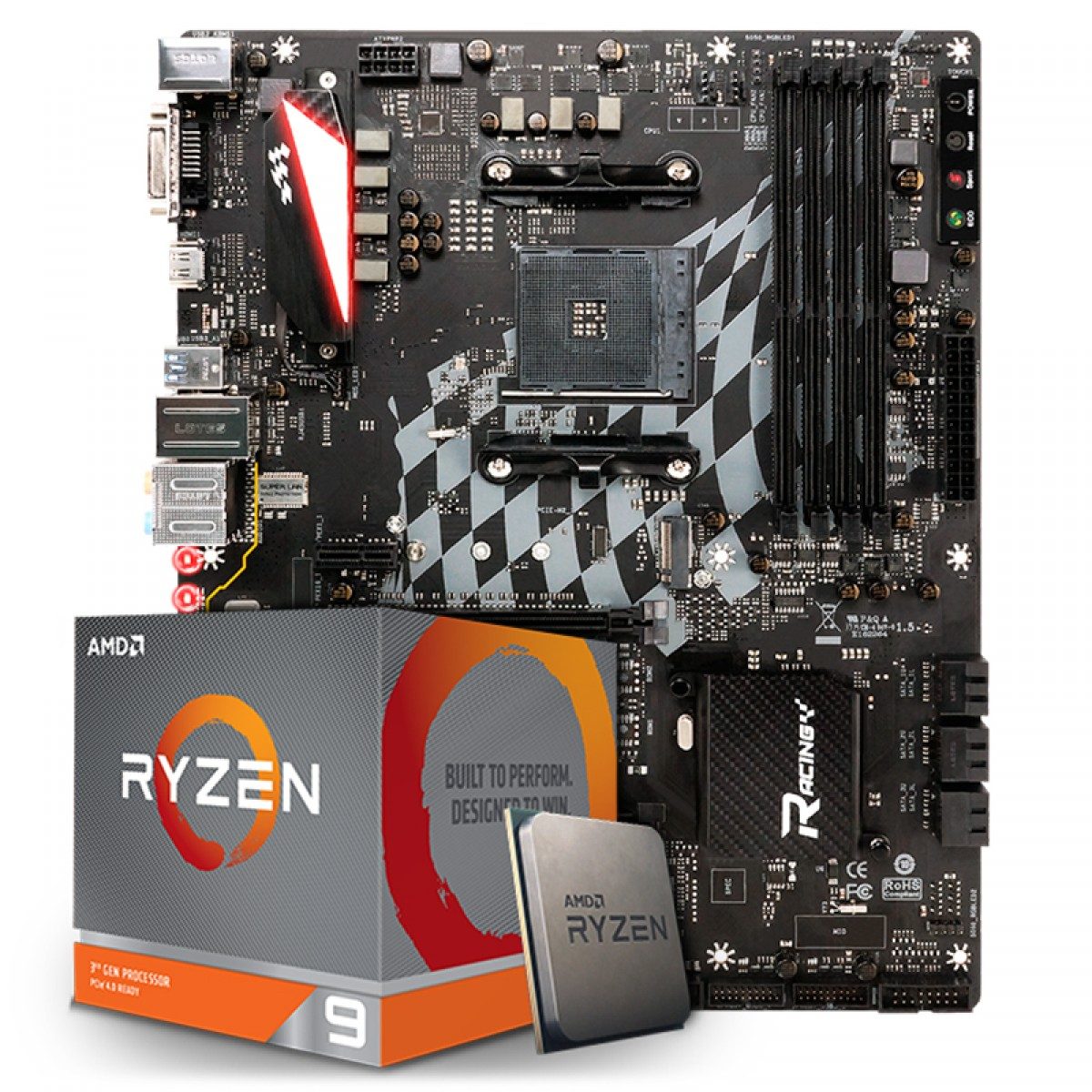 Kit Upgrade Placa Mãe Biostar Racing X470GTA + Processador AMD Ryzen 9 3900x 3.8GHz