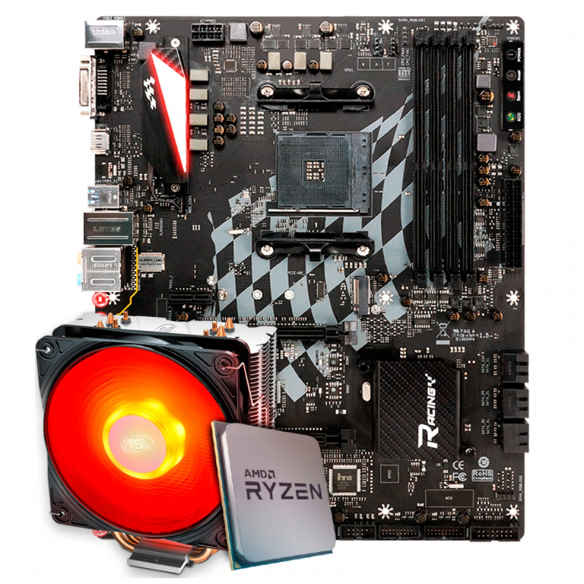 Kit Upgrade, AMD Ryzen 9 3900X, Biostar Racing X470GTA, Cooler Deepcool Gammaxx 400