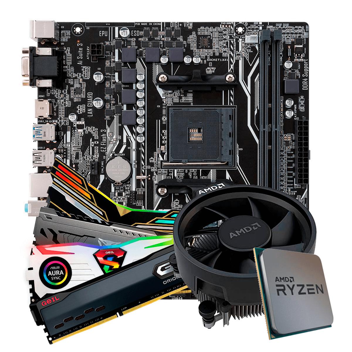 Kit Upgrade, AMD Ryzen 5 3500, Asus Prime A320M-K, Memória DDR4 8GB 3000MHz