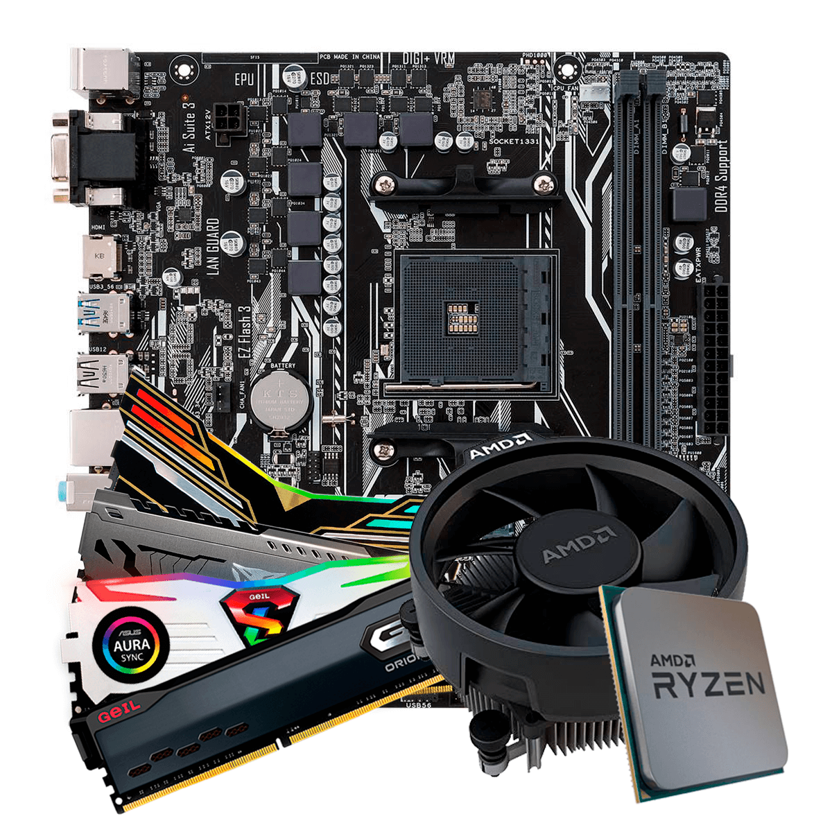 Kit Upgrade, AMD Ryzen 5 3500, Asus Prime A320M-K, Memória DDR4 (2x8GB) 16GB 3000MHz
