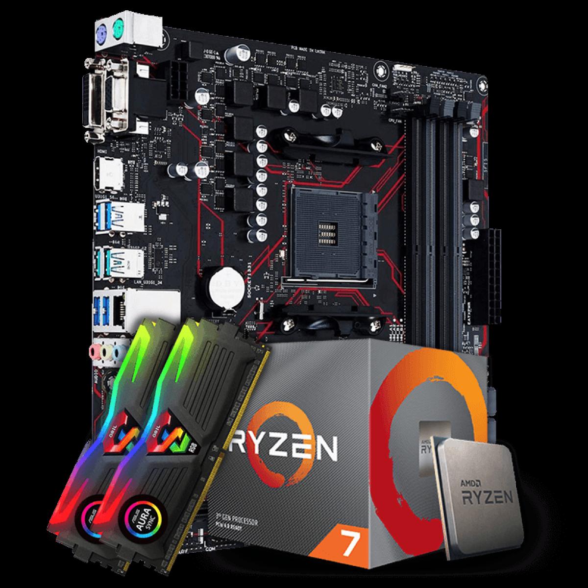 Kit Upgrade Placa Mãe Asus Prime B450M Gaming/BR AMD AM4 + Processador AMD Ryzen 7 2700 3.2GHz + Memória DDR4 16GB (2X8GB) 3000MHz