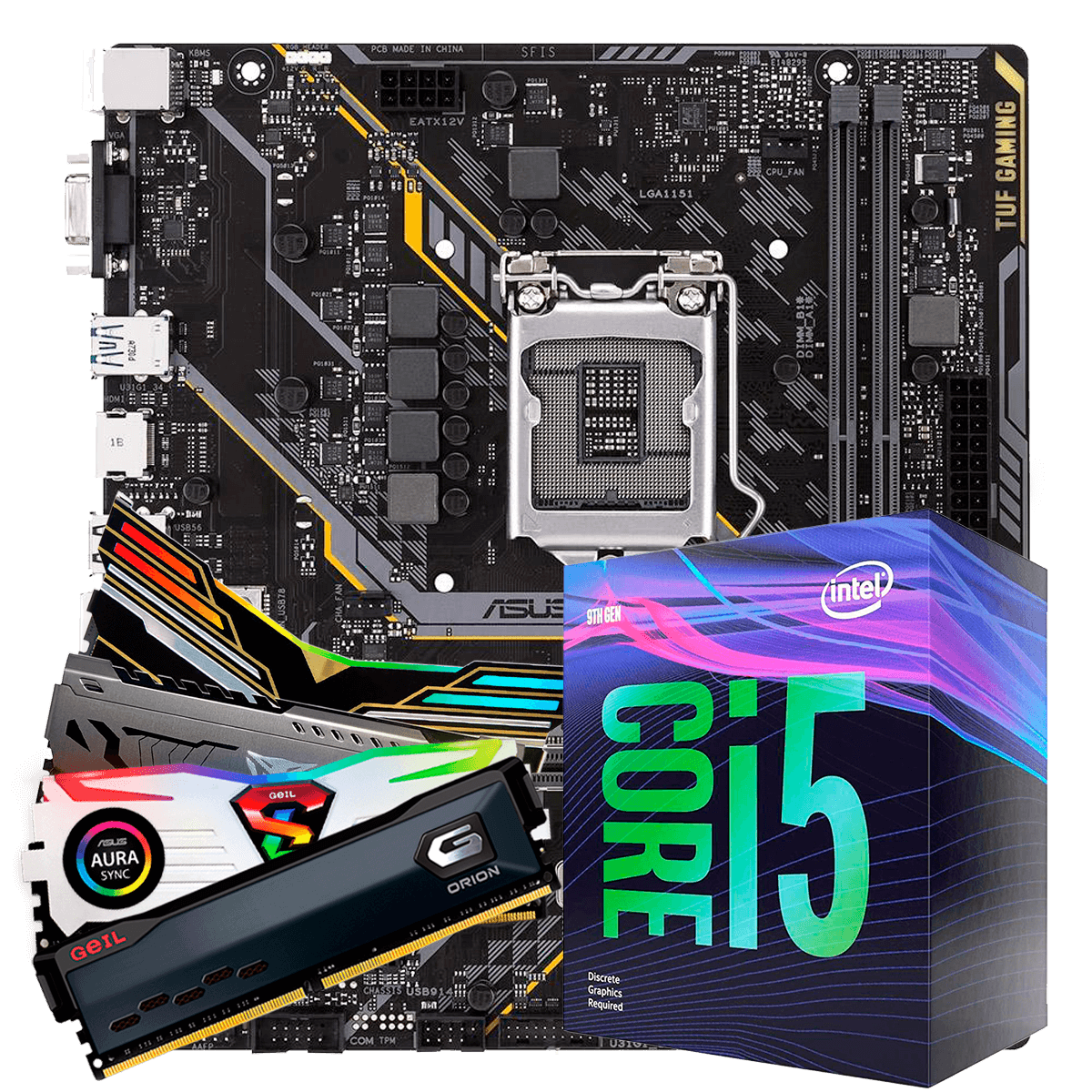 Kit Upgrade, i5 9400F, Asus TUF H310M-Plus Gaming, Memória DDR4 8GB 3000MHz