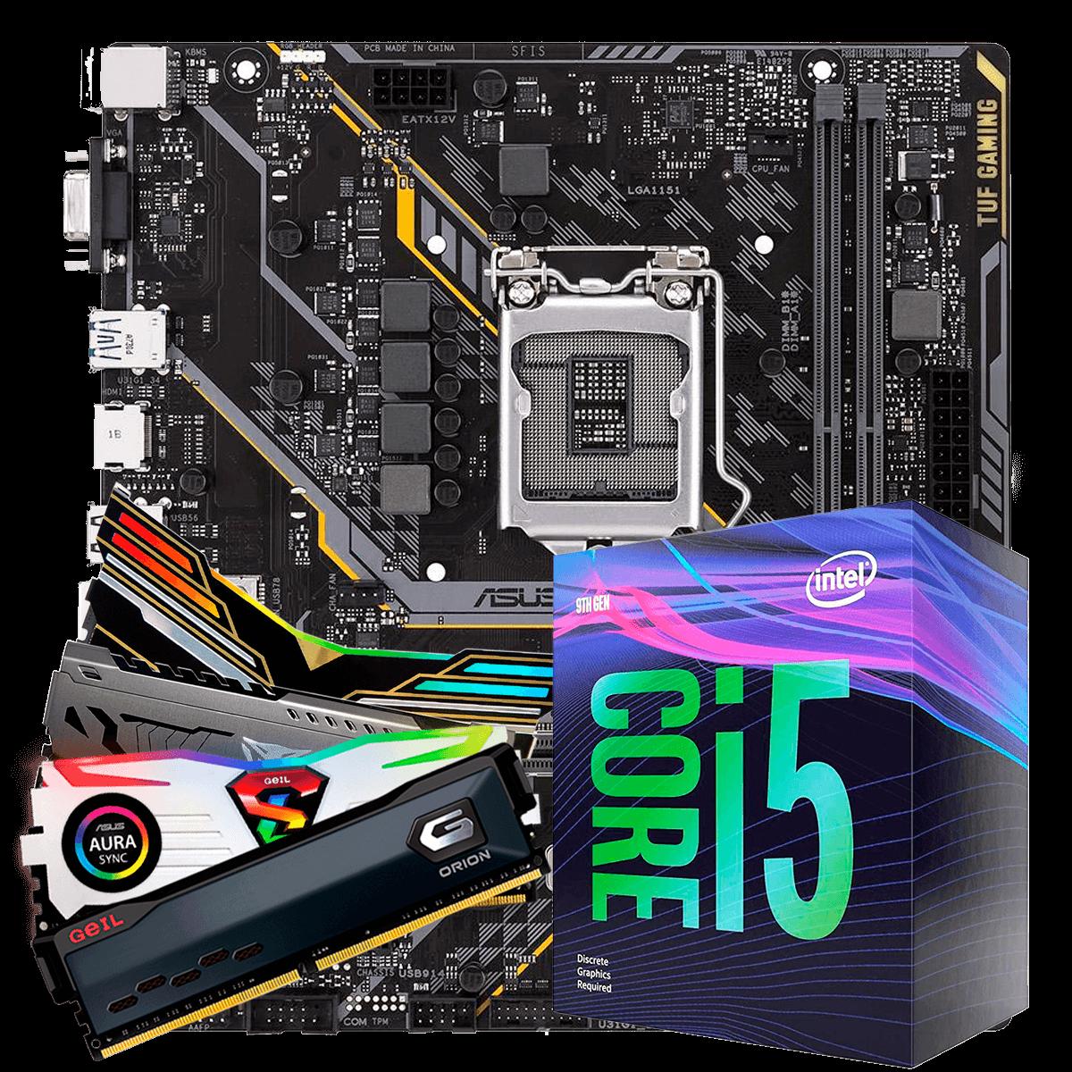 Kit Upgrade, Intel Core i5 9400F, Asus TUF H310M-Plus Gaming, Memória DDR4 16GB (2x8GB) 3000MHz