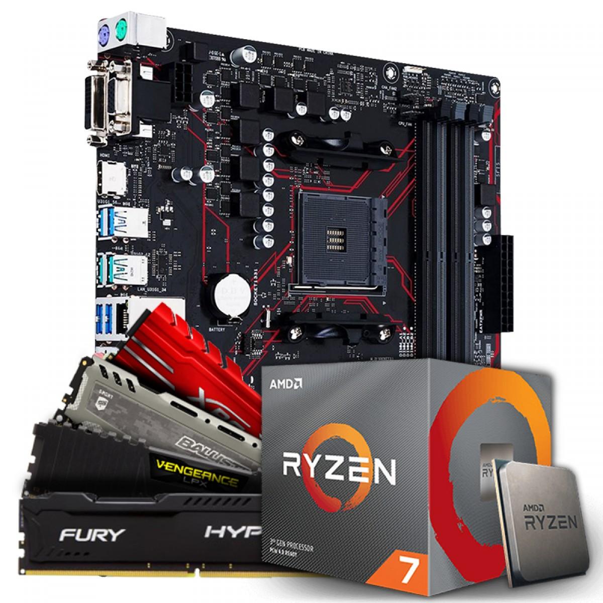 Placa Mãe Asus Prime B450M Gaming/BR AMD AM4 + Processador AMD Ryzen 7 2700 3.2GHz + Memória DDR4 8GB 3200MHz