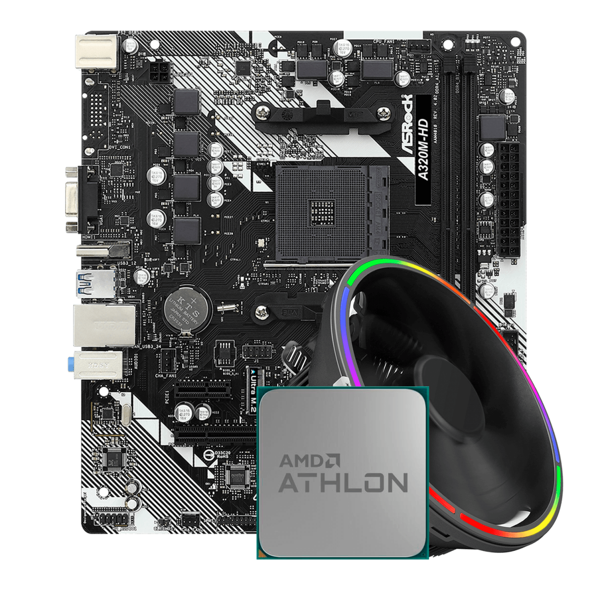 Kit Upgrade, AMD Athlon 200GE, ASRock A320M-HD R4.0