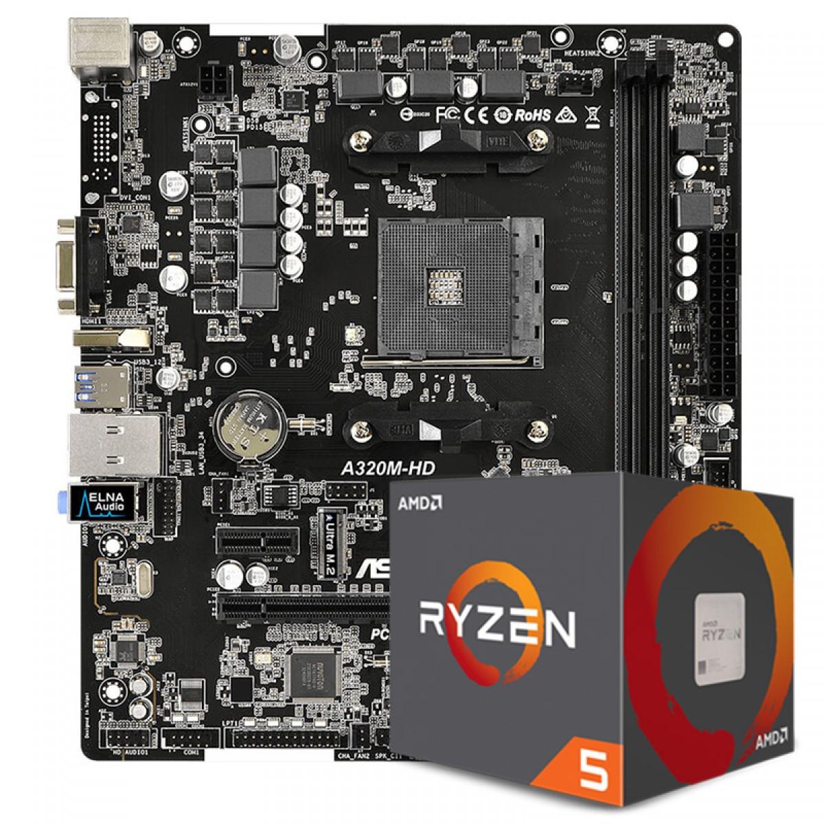 Kit Upgrade Placa Mãe Asrock A320M-HD, AMD AM4 + Processador AMD Ryzen 5 2600 3.4GHz