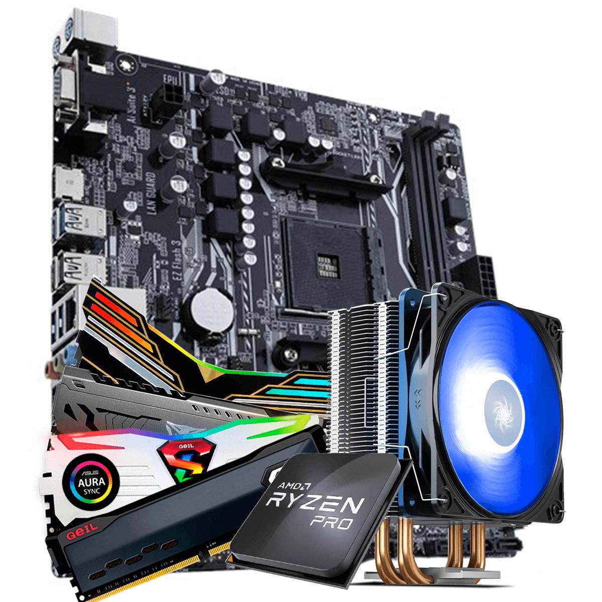 Kit Upgrade, AMD Ryzen 3 PRO 3200GE 3.8GHz Turbo + Cooler, + Asus Prime A320M-K, + Memória DDR4 16GB (2x8GB) 3000MHz
