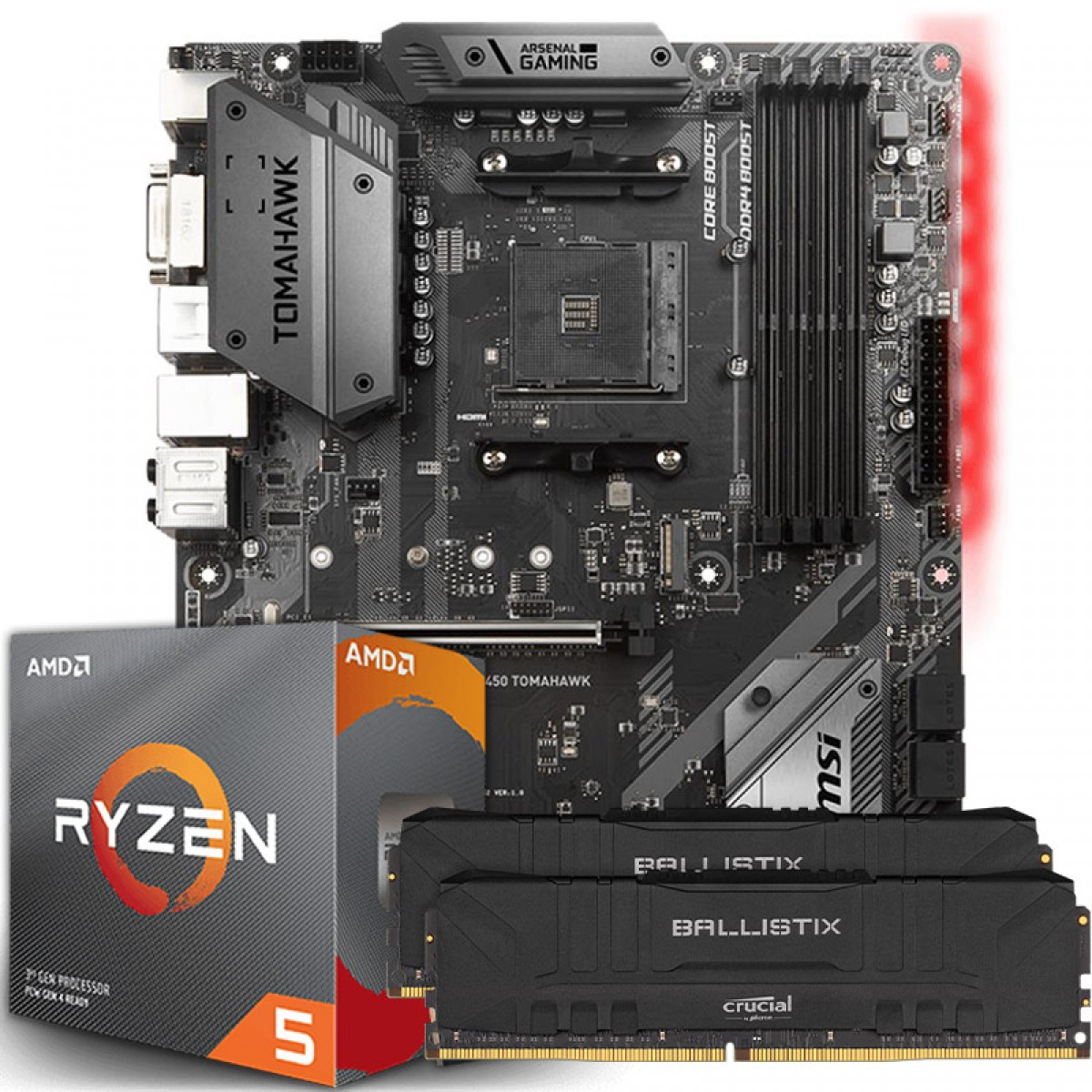 Kit Upgrade, AMD Ryzen 5 3600X, MSI B450 Tomahawk, Memória DDR4 16GB (2X8GB) 3000MHz