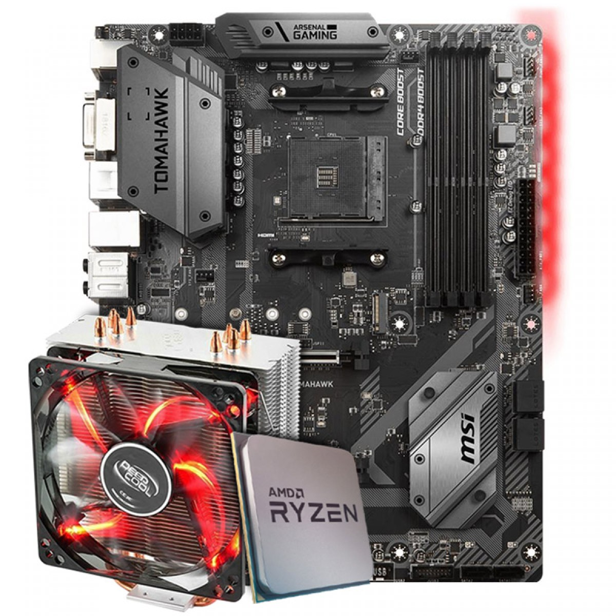 Kit Upgrade Placa Mãe MSI B450 Tomahawk AMD AM4 + Processador AMD Ryzen 7 3800x 3.9GHz