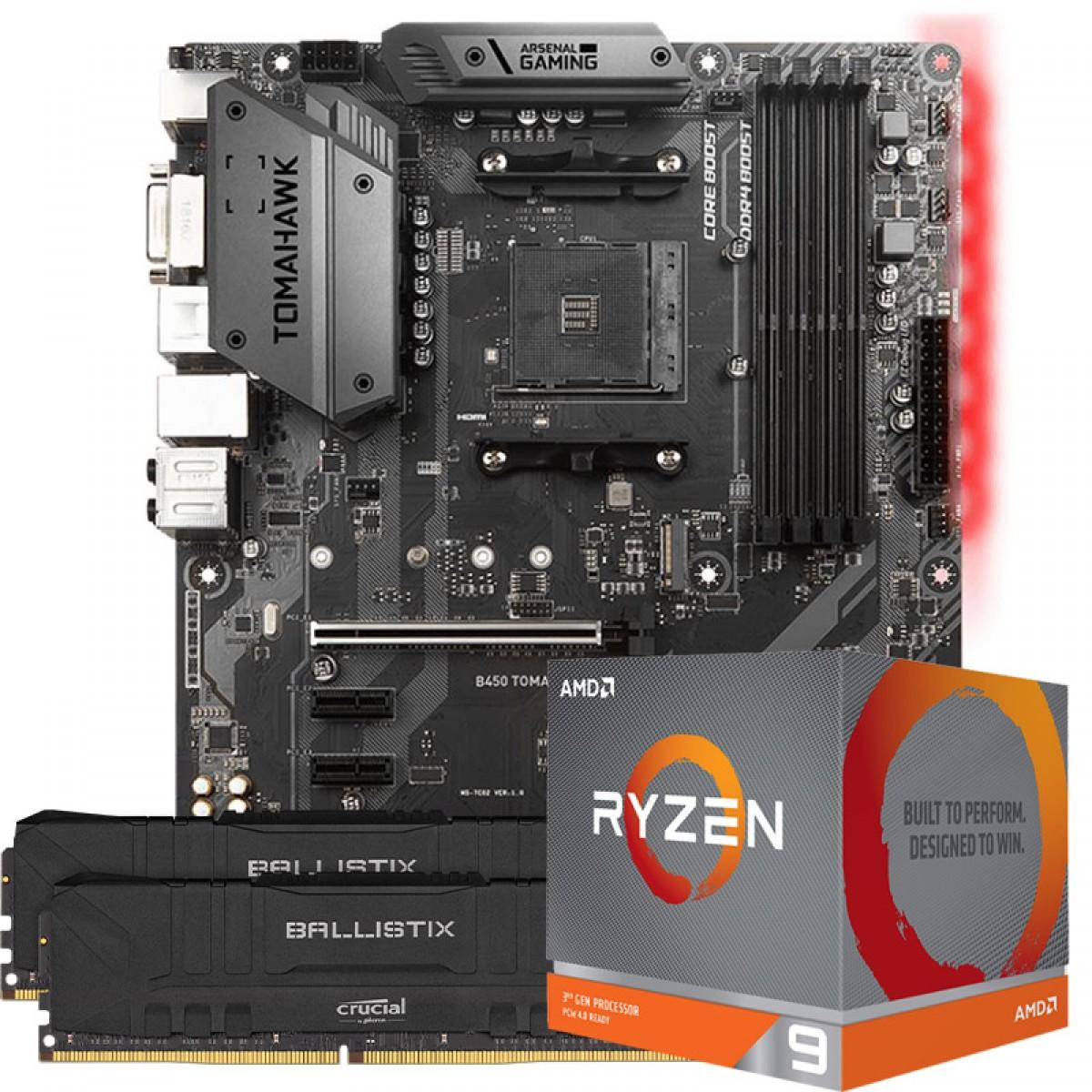 Kit Upgrade Placa Mãe MSI B450 Tomahawk AMD AM4 + Processador AMD Ryzen 9 3900x 3.8GHz + Memória DDR4 16GB (2X8GB) 3000MHz