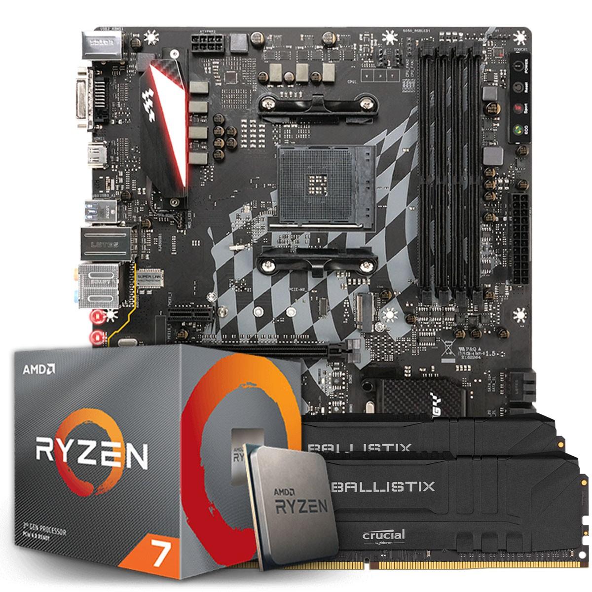 Kit Upgrade, AMD Ryzen 7 3700X, Biostar Racing X470GTA, Memória DDR4 16GB (2X8GB) 3000MHz