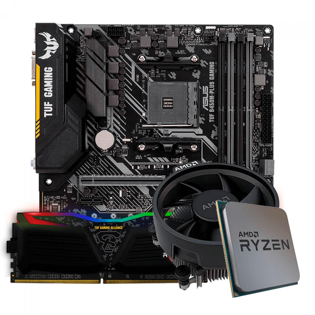 Kit Upgrade, AMD Ryzen 5 3600, Asus TUF B450M-PLUS GAMING, Memória TUF DDR4 8GB 3000MHz