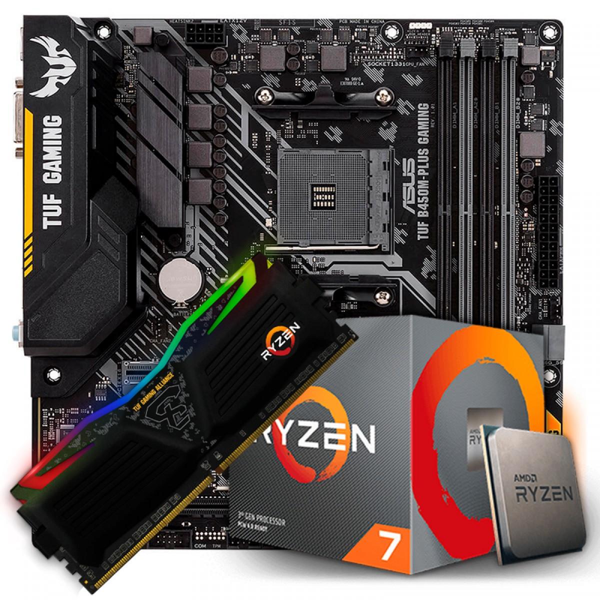 Kit Upgrade, AMD Ryzen 7 3700X, Asus TUF B450M-PLUS GAMING, Memória TUF DDR4 8GB 3000MHz