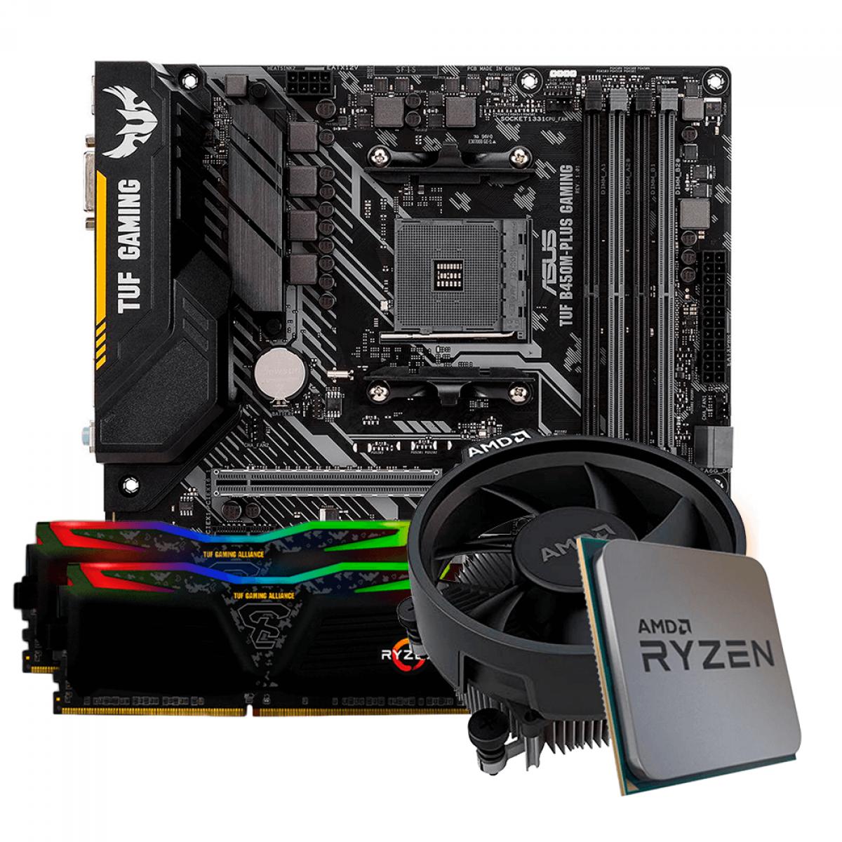 Kit Upgrade, AMD Ryzen 5 3600, Asus TUF B450M-PLUS GAMING, Memória TUF DDR4 16GB (2x8GB) 3000MHz