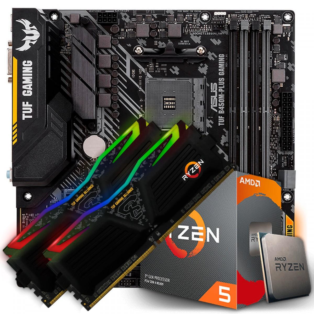 Kit Upgrade Placa Mãe Asus TUF B450M-PLUS GAMING, AMD AM4 + Processador AMD Ryzen 5 3600 3.6GHz + Memória TUF DDR4 16GB (2x8GB) 3000MHz