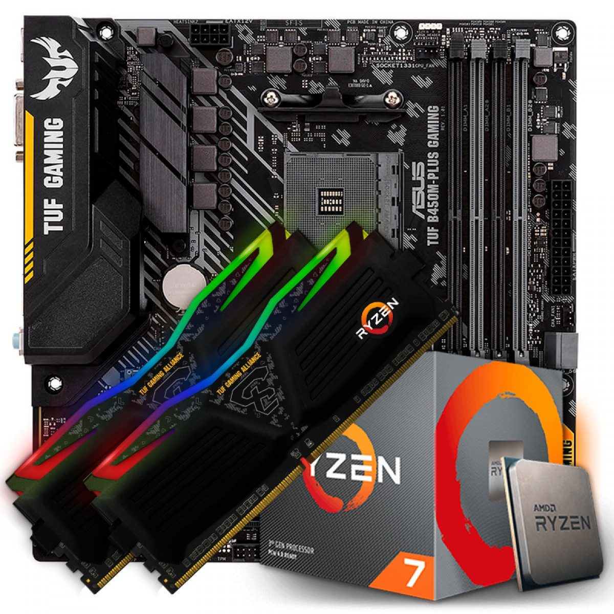 Kit Upgrade Placa Mãe Asus TUF B450M-PLUS GAMING, AMD AM4 + Processador AMD Ryzen 7 3700x 3.6GHz + Memória TUF DDR4 16GB (2x8GB) 3000MHz
