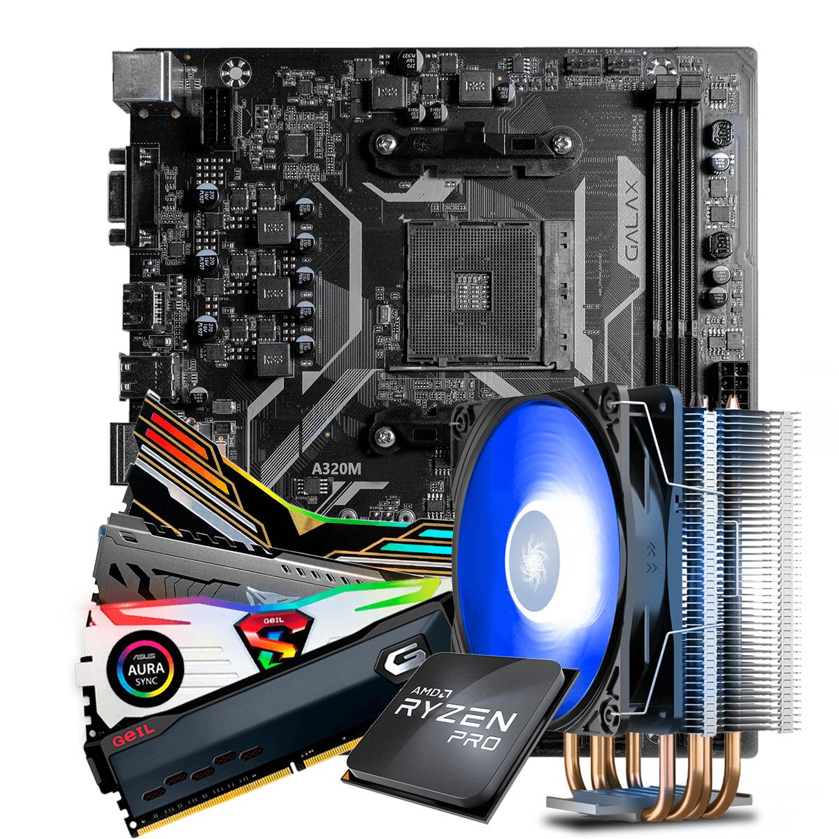 Kit Upgrade, AMD Ryzen 3 PRO 3200GE 3.8GHz Turbo + Cooler, + Galax A320M + Memória DDR4 16GB (2x8GB) 3000MHz
