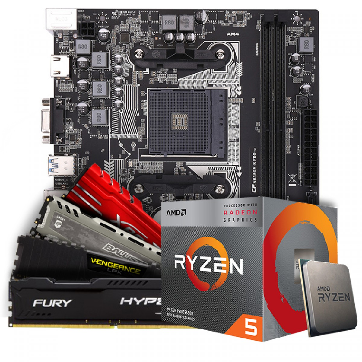 Kit Upgrade Placa Mãe Colorful AB350M-K PRO V14, AMD AM4 + Processador AMD Ryzen 5 3400G 3.7GHz + Memória DDR4 16GB (2x8GB) 3000MHz