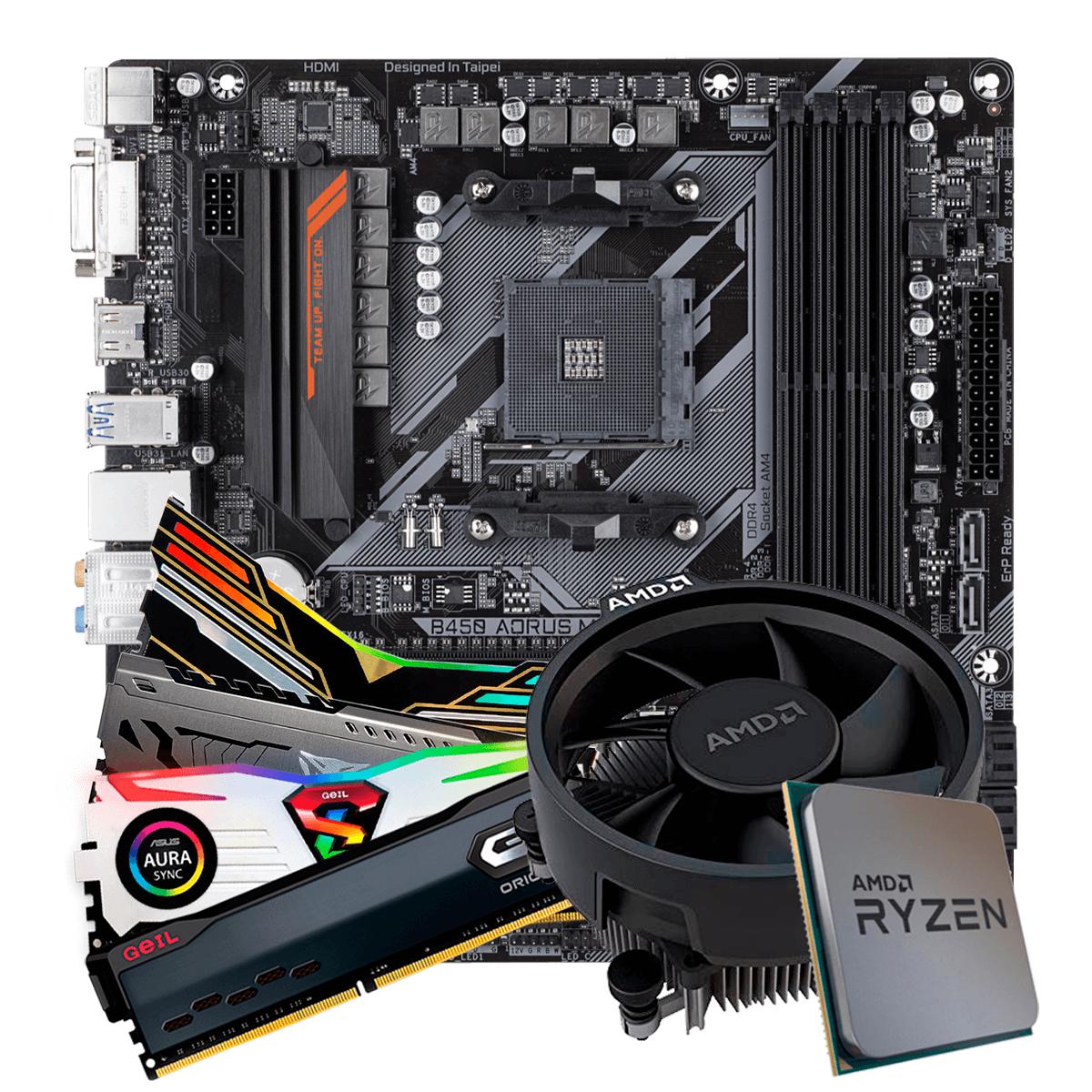 Kit Upgrade, AMD Ryzen 5 3500,Gigabyte B450 AORUS M, Memória DDR4 8GB 3000MHz