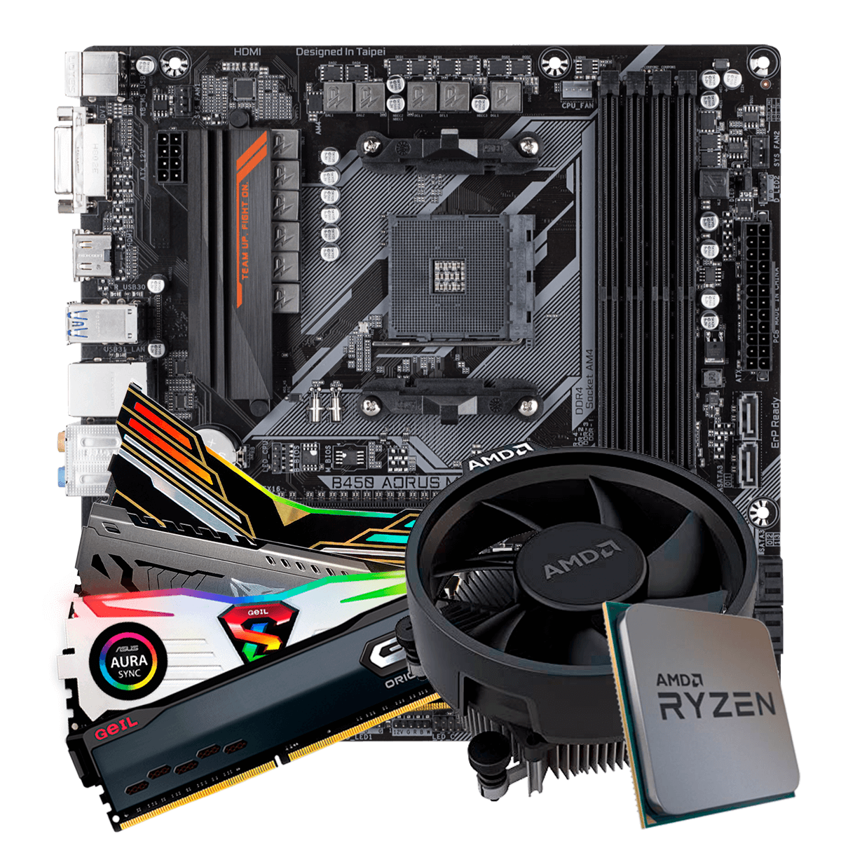 Kit Upgrade, AMD Ryzen 5 3500, Gigabyte B450 AORUS M, Memória DDR4 16GB 3000MHz