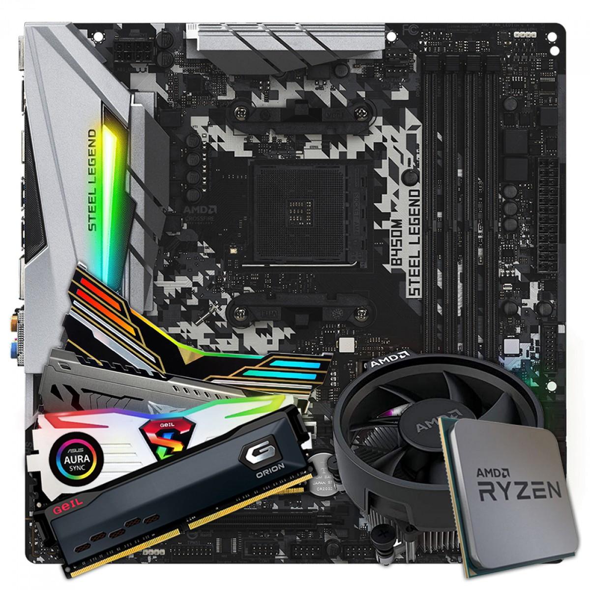 Kit Upgrade Placa Mãe ASRock B450M Steel Legend + Processador AMD Ryzen 5 3400G 3.7GHz + Memória DDR4 8GB 3000MHz