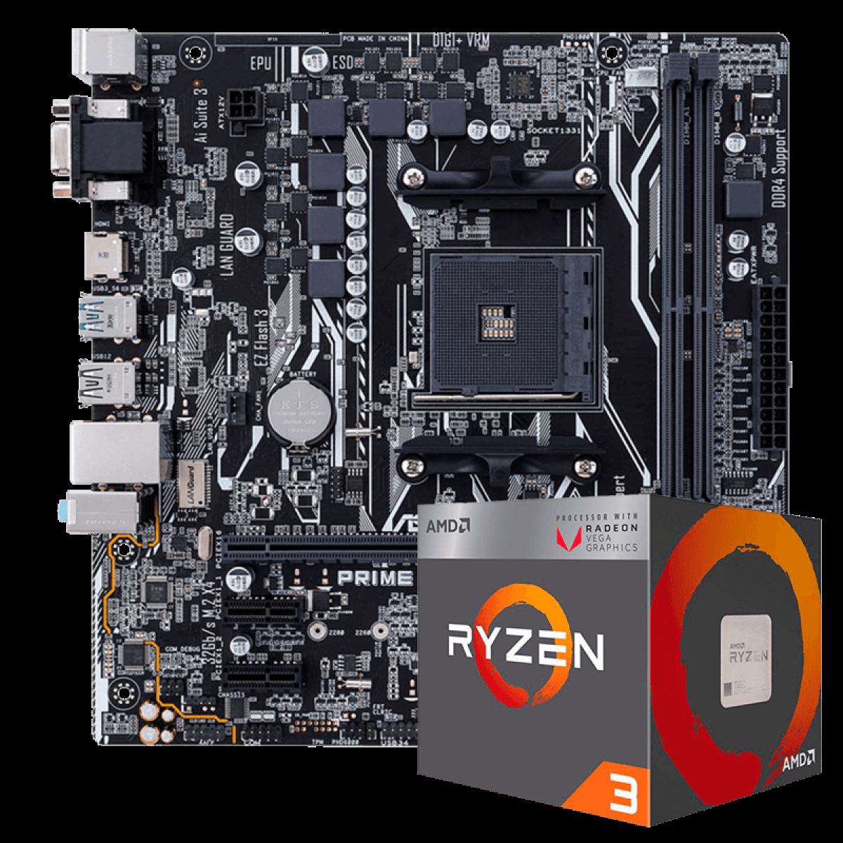 Kit Upgrade Placa Mãe Asus PRIME A320M-K DDR4 + PROCESSADOR AMD RYZEN 3 2200G 3.5GHZ