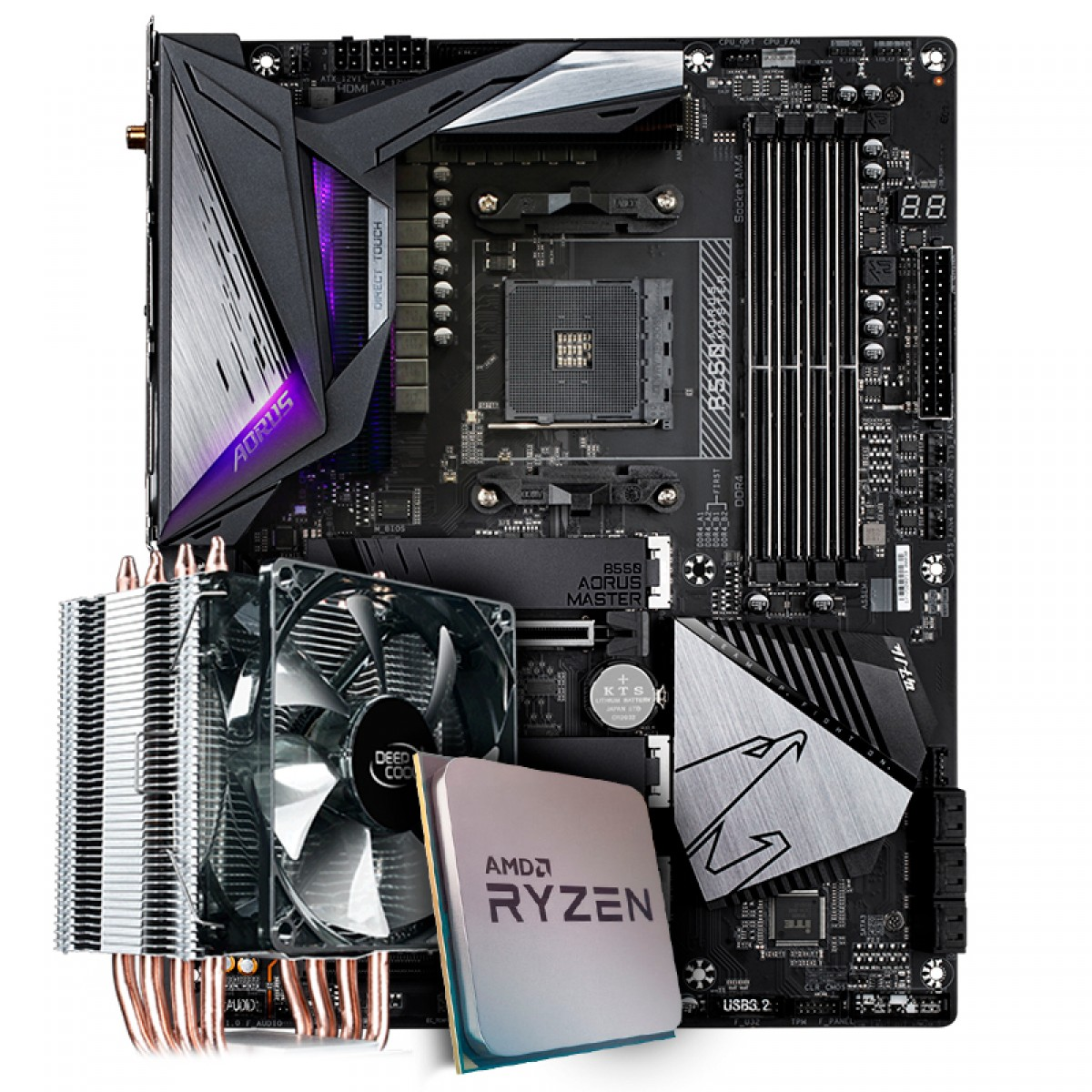 Kit Upgrade Placa Mãe Gigabyte B550 Aorus Master AMD AM4 + Processador AMD Ryzen 7 3800x 3.9GHz + Cooler Deepcool Gammaxx